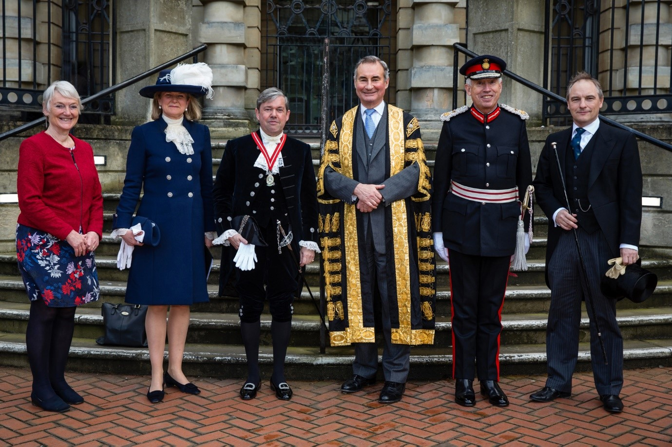 Elizabeth Harrison(Berkshire Bench),Sarah Scrope(outgoing HS),Graham Barker(incoming HS), Lord Hughes, James Puxley (Lord Lieutenant), Jonathan Gater (Under Sheriff)